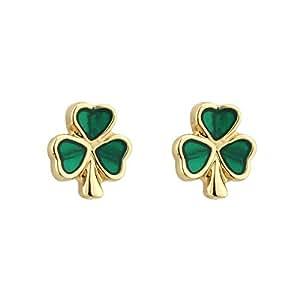 Shamrock Earrings Small Studs Gold Plated & Enamel Irish Made