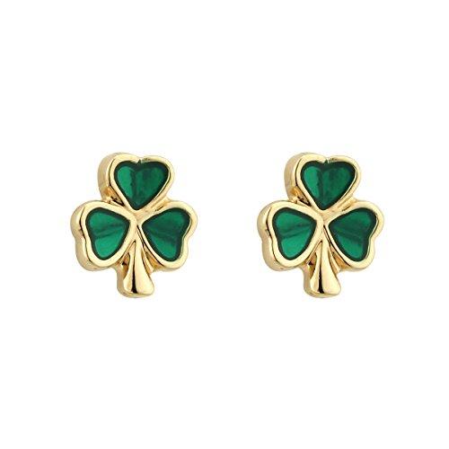 Irish Earrings Shamrock Studs Gold Plated & Enamel Made in Ireland