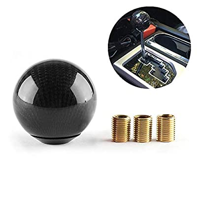 Carbon Fiber Style Gear Shift Knob Universal Shifter Knobs with 3 Adapters Stick Shifter Round Ball Black: Home Improvement