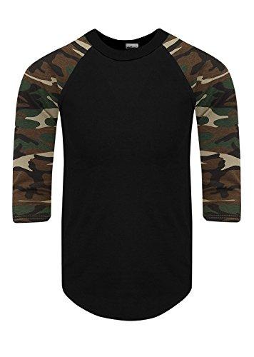 RA0246_XL Baseball T Shirts Raglan 3/4 Sleeves Tee Cotton Jersey S-5XL Black/Camo Green 1X by Shaka Wear