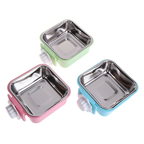Oranmay Square Pet Bowl Stainless Steel Water Food Feeder Hanging Cage Supplies for Dog Cat ()