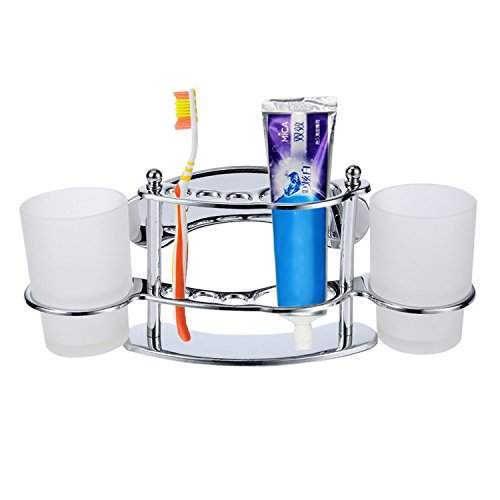WIDEN Bathroom Stainless Steel Holder Wall Mounted Toothbrush & Toothpaste and Tumbler Holder With 2 Cups WIDEN ELECTRIC
