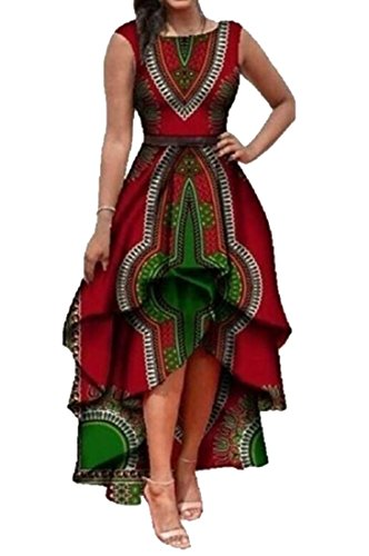 ARTFFEL Womens Fashion African Dashiki Print Sleeveless High-Low Cocktail Dress 2 L