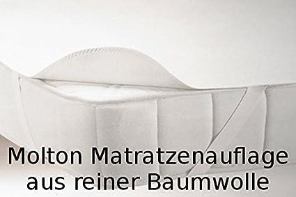 Matratzenschutz aus Molton 100% Baumwolle, Matratzenauflage/Matratzenschoner/Schutzbezug mit 4 Eckgummis - verschiedene Größen, weiß o. rohweiß je nach Verfügbarkeit 1B leichte Schönheitsfehler CA70 (70x140cm) Castejo