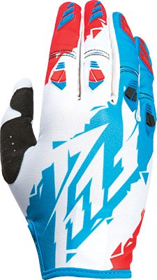 Fly Racing Unisex-Adult Kinetic Gloves (Red/White/Blue, Size 5/Youth Medium)