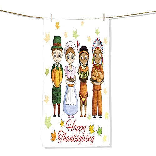 FootMarkhome Microfiber Beach Towel Happy Thanksgiving Wallpaper Background Beach Blanket, Towels, Best for Outdoor -Size:11.8