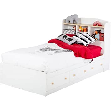 Amazon Com Twin Mates Bed With 3 Drawers 39 White And Maple