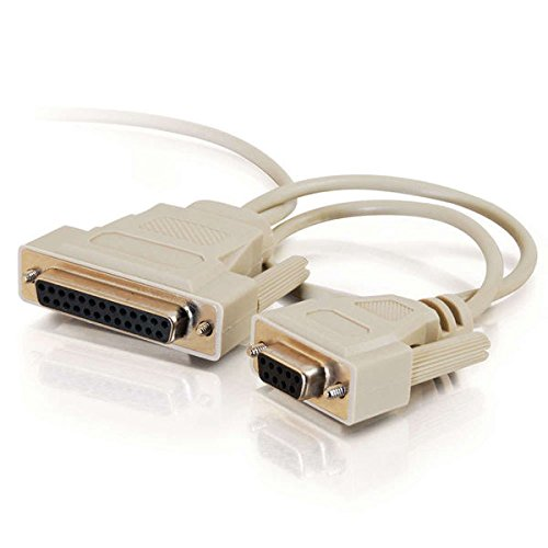 (C2G 02897 DB9 Female to DB25 Female Universal Serial LapLink Compatible Cable, Beige (6 Feet, 1.82)