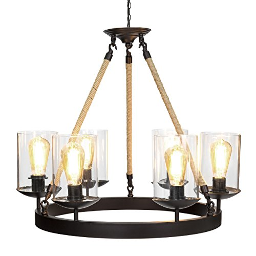 Best Choice Products Living/Dining Room Modern Rustic Rope Design 6-Light Chandelier Pendant Lighting Fixture For Sale