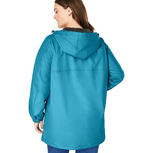Woman Within Women's Plus Size Hooded Slicker Raincoat