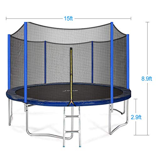 JUPA Kids Trampoline 15FT, T V Certificated Outdoor Trampoline with Enclosure Net Jumping Mat Safety Pad, Heavy Duty Round Trampoline for Backyard