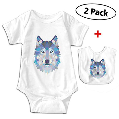 Three Dimensional Three Dimensional Cool Wolf Animals Gift Unisex Baby Short-Sleeve Onesies One-Piece White ()