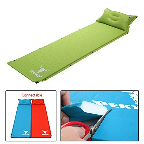 Inflating Sleeping Pad with Attached Pillow, Compact Lightweight Camping Air Mattress with Quick Flow Value