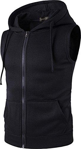 Hooded Waistcoat - Sportides Men's Casual Gilet Waistcoat Hoodie Sleeveless Sweatshirt Zipped Vest Top JZA001 Black L