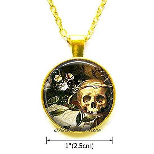Hallow's Eve Pendant,Halloween Necklace Halloween Pendant Samhain Jewelry Wiccan Jewelry Goth Necklace Skull Necklace,Fashion Jewelry,for her Birthday,Photo Jewelry Glass Pendant-ZE072 ()