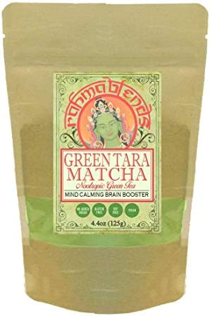 Green Tara Matcha Brain Boosting Matcha Latte Blend with Lion s Mane, Mucuna, Eleuthero, Lemon Balm, Gotu Kola, Bacopa Extracts Tonic, Superfood, Memory, Study, Nootropic, Focus. 4.4oz