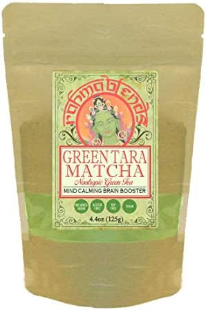 Green Tara Matcha: Brain Boosting Matcha Latte Blend (with Lion's Mane, Mucuna, Eleuthero, Lemon Balm, Gotu Kola, Bacopa Extracts) Tonic, Superfood, Memory, Study, Nootropic, Focus. 4.4oz