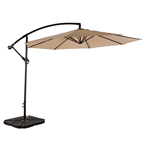 AMT Adjustable Offset Cantilever Hanging 10 Patio Umbrella Cross Base Crank, Beige