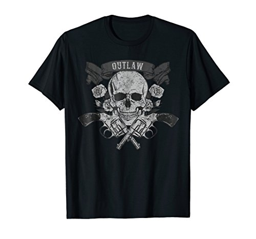 Outlaw T Shirt | Classic Vintage Skull Biker Motorcycle Ride ()