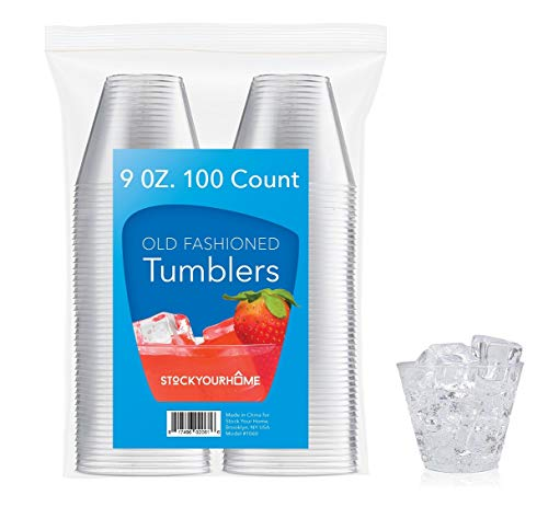 9 oz Clear Plastic Cups 100-Count Disposable Party Cups - Old Fashioned Reusable Plastic Tumblers For Cocktail Drinks, Fruits, Snacks, Appetizers & -