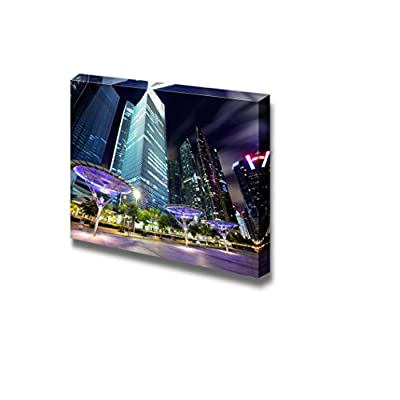 Canvas Prints Wall Art - Singapore City at Dusk/Night Cityscape Photograph | Modern Wall Decor/Home Decoration Stretched Gallery Canvas Wrap Giclee Print & Ready to Hang - 24