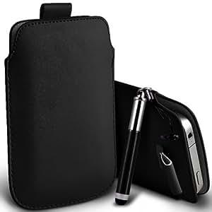 Nokia Lumia 525 premium protección PU ficha de extracción Slip Cord En la cubierta de la caja del filtro del bolsillo de la Piel y Mini capacitiva lápiz óptico retráctil Negro por Spyrox