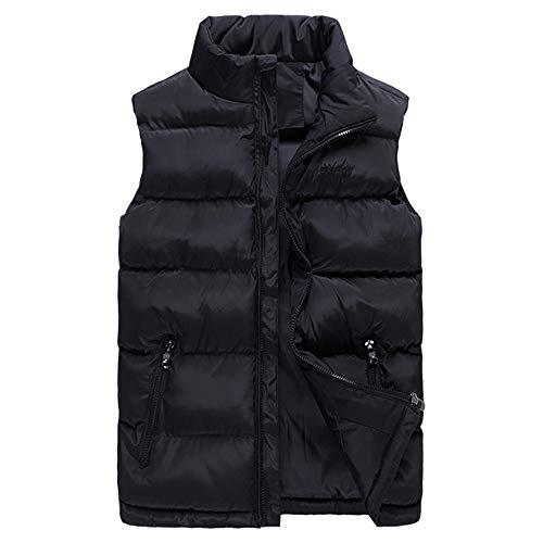 QBQCBB Mens Autumn Winter Casual Vest Stand Collar Pure Color Warm Waistcoat (Black,M) from QBQCBB