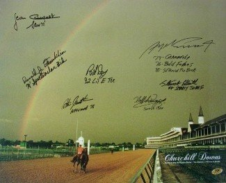 Smarty Jones Signed Autograph Churchill Downs Kentucky Derby Winners 2004 Horse Racing Rainbow 16x20 Photo 7 signatures - Autographed Racing Collectibles