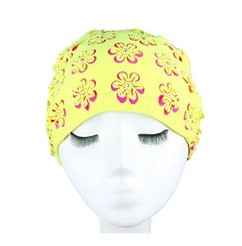 primerry orange flower stickers(Nylon Fabric)cozy waterproof swimming cap by primerry