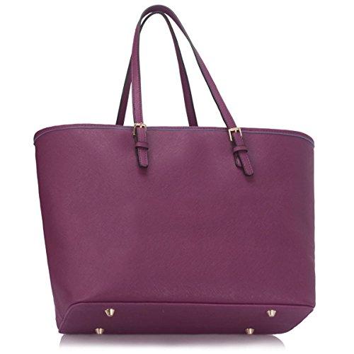 Ladies Travel Faux Xardi Tote Women Shoulder Purple Floral London Bag Plain Leather Handbag Designer Large qvvXZwz