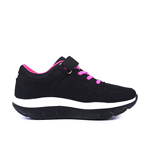 JARLIF Frauen Bequeme Plattform Walking Sneakers Leichte Casual Tennis Fitness Schuhe US5.5-10 Schwarz