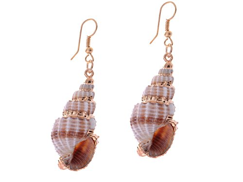 Alilang Womens Brown Golden Accent Ocean Seashell Couch Mermaid Sea Witch Drop Dangle Earrings