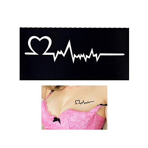 1 plantilla de tatuaje con diseño de corazón electrocardiograma ...