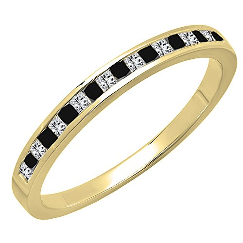Dazzlingrock Collection 0.25 Carat (ctw) 14K Princess Cut Black & White Diamond Wedding Band 1/4 CT, Yellow Gold, Size 6 ()