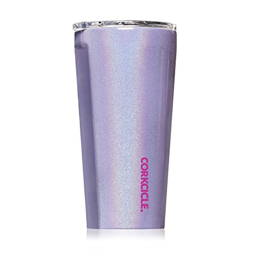 Floral Collection Pink Mug - Corkcicle Tumbler - Classic Collection - Triple Insulated Stainless Steel Travel Mug, Sparkle Pixie Dust, 16 oz