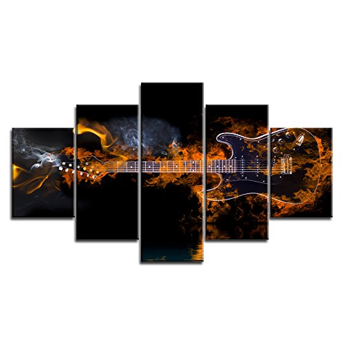 Music Wall Art Abstract Fire Guitar Black Canvas Prints Home Decoration for Living Room Bedroom Modern Still Life Pictures 5 Panel Large Posters HD Printed Painting Framed Ready to Hang (60