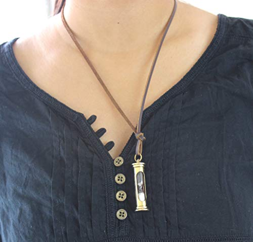 Collectibles Buy Retro Marine Leather Cord Handmade Sand Timer Pendant Antique Design Brass Locket Nautical Unique Necklace