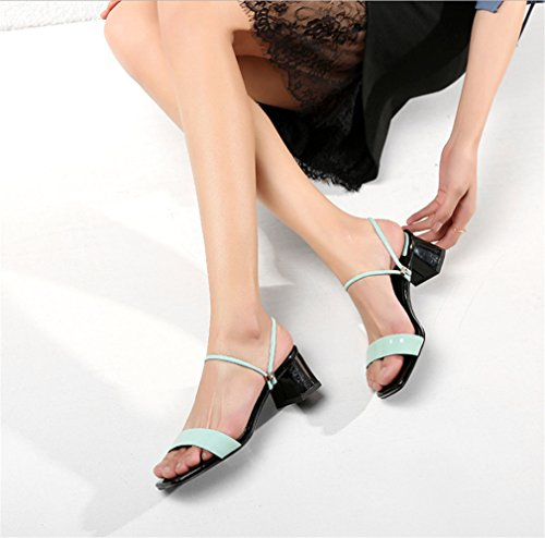 BIANJESUS Casual Block Spesso Quadrato Toe Tacco Estate Low Tinta Donna Open Donna Tacco EU36 Comode Blue Scarpe Outdoor Unita Pantofole Sandali rCIqr