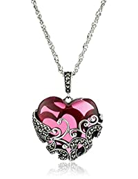 Sterling Silver Oxidized Marcasite and Gemstone Colored Glass Filigree Heart Pendant Necklace, 18""