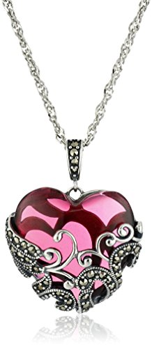 Sterling Silver Oxidized Genuine Marcasite and Red Glass Heart Filigree Pendant Necklace, 18