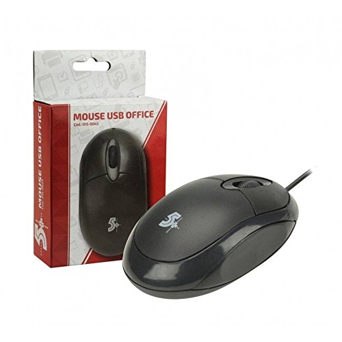 MOUSE OTICO USB OFFICE PRETO 1000DPI, 5+, Mouses