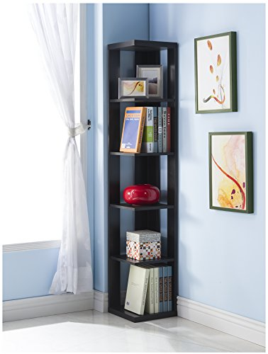 - Black Finish Wood Wall Corner 5-Tier Bookshelf Bookcase