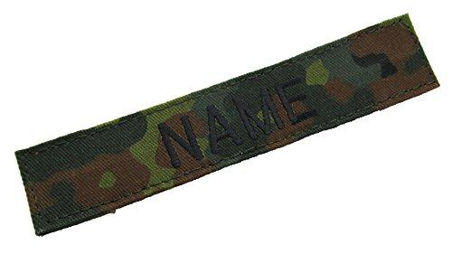 Flecktarn Camo Name Tape - Black Thread - 5 INCH with Hook Fastener (German Camouflage Uniforms)