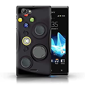 STUFF4 Phone Case / Cover for Sony Xperia J (ST26i) / Black Xbox 360 Design / Games Console Collection