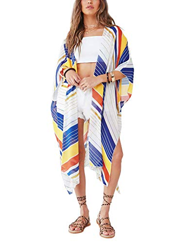 (Womens Striped Cover up Tropical Style Long Kimono Cardigan Maxi Dress L)