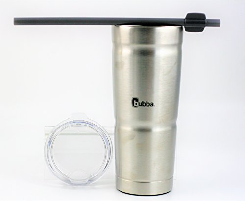 BUBBA S ENVY 24oz Stainless Steel Tumbler | Secure Straw | Double Wall Vacuum Seal | Keeps drinks cool and hot | Removable lid | No sweating easy-grip (Silver/Clear Top)