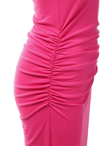 Tank Made Stretchy for fuchsia Plus Size Women Maxi USA Cotton Awdmd0225 Doublju with Racerback Dress in PtdTTwq
