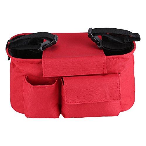 Asixx Organizador para Cochecito de Bebé, Bolsa de Almacenamiento para Cochecitos,para A La Mayoría de Los Cochecitos(Rojo)