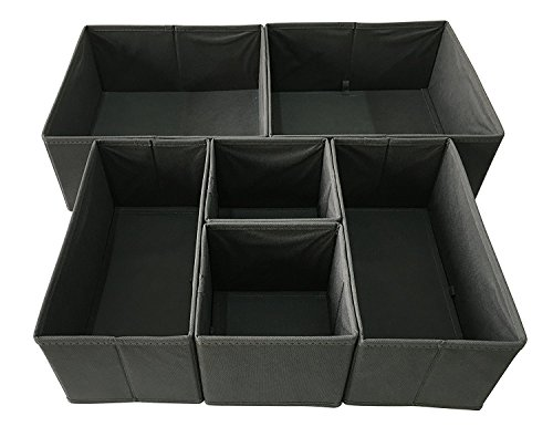 Sodynee Foldable Cloth Storage Box Closet Dresser Drawer Organizer Cube Basket Bins Containers Divider with Drawers for Underwear, Bras, Socks, Ties, Scarves, 6 Pack, Grey
