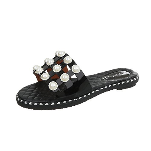 Zuecos Negro Ital de para 603 Design Mujer Vestir Zapatos Sandalias Ancho Tacón rnzrT